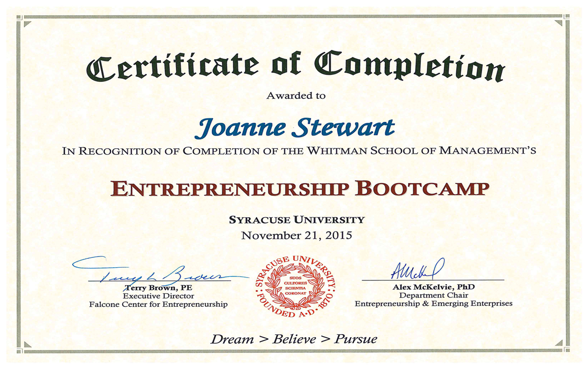 Congratulations Entrepreneurship Bootcamp Graduate Environmental